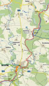Pěšky - trasa 25 km - Bechyně - Dobronice - řetězový most pod Stádlcem - Dobronice - Bechyně