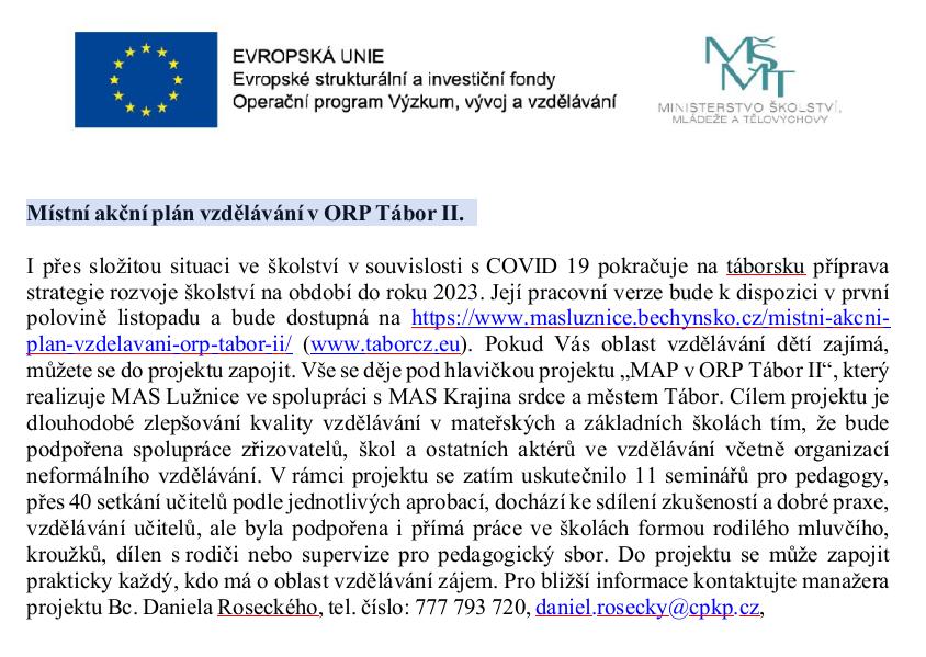 Místní akční plán vzdělávání v ORP Tábor II.